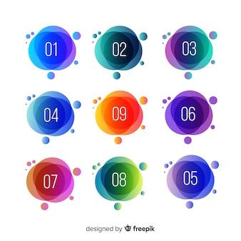 Streszczenie punkt kolekcja kolorowy pocisk