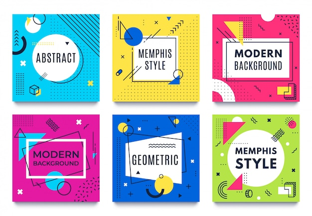 Streszczenie rama geometryczna. kwadratowe karty memphis, funky kolorowe paski i kropki kształty i cytaty ramki tekstowe tło wektor zestaw