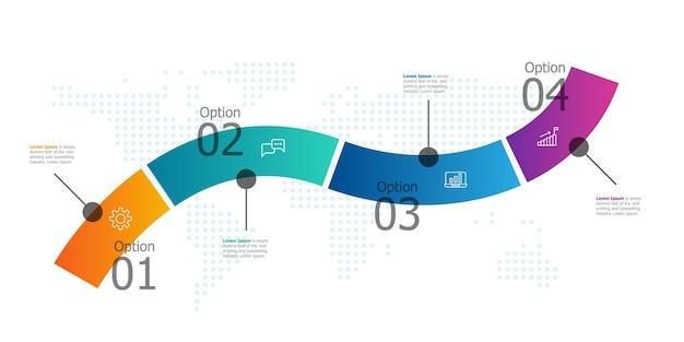 Streszczenie raportu prezentacji infografiki poziomej osi czasu z ikoną 4 kroki ilustracji wektorowych