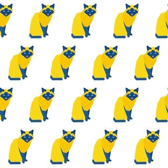Streszczenie ręcznie kot bezszwowe tło wzór. dziecinna, ręcznie robiona tapeta z kotem na kartę projektową, pieluchę dla niemowląt, menu zimowe, papier do pakowania świątecznych, nadruk na torbie, koszulkę itp.