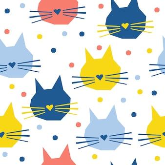 Streszczenie ręcznie kot głowy wzór tła. dziecinna, ręcznie robiona tapeta z kotem na kartę projektową, pieluchę dla niemowląt, menu zimowe, papier do pakowania świątecznych, nadruk na torbie, koszulkę itp.