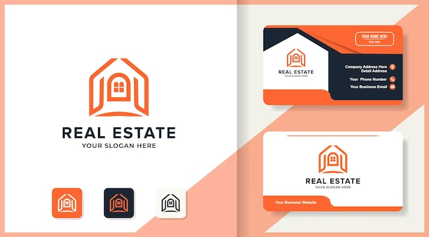 Streszczenie ręcznie logo nieruchomości i projekt wizytówki