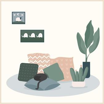 Streszczenie ręcznie robiony kot, poduszka i ilustracja roślin