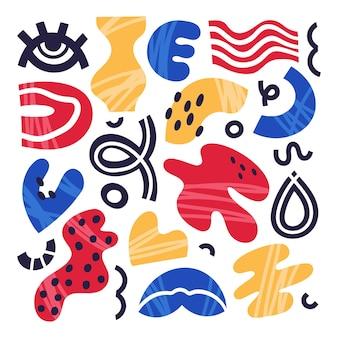 Streszczenie Ręcznie Rysowane Doodle Kształty Izolowane Zestaw Ilustracji Wektorowych Premium Wektorów