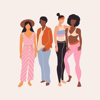 Streszczenie ręcznie rysowane grupa kobiet