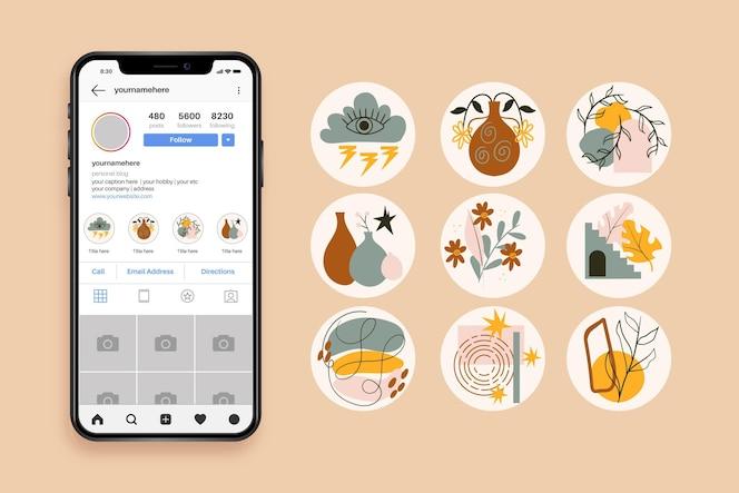 streszczenie ręcznie rysowane instagram podkreśla kolekcję