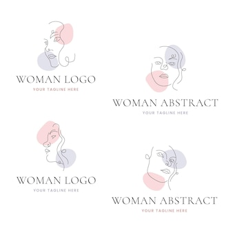 Streszczenie ręcznie rysowane kolekcja szablonów logo kobieta
