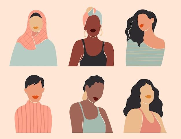Streszczenie Ręcznie Rysowane Kolekcji Portretów Kobiet Darmowych Wektorów