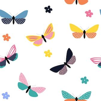 Streszczenie ręcznie rysowane motyl wzór. ilustracja