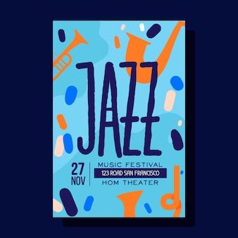 Streszczenie ręcznie rysowane szablon plakat muzyki jazzowej