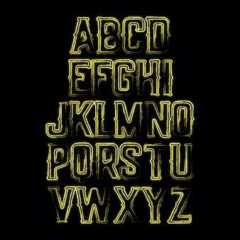 Streszczenie ręcznie rysowane wektor ozdobny alfabet