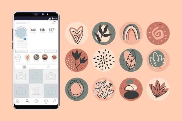 Streszczenie ręcznie rysowane wyróżnia instagram