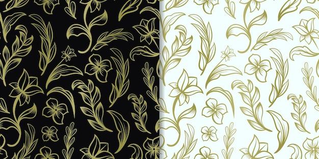 Streszczenie ręcznie rysowane złoty kwiatowy wzór