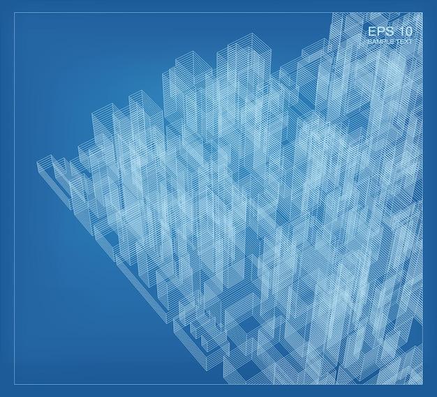 Streszczenie renderowania perspektywy 3d budynku szkielet. pomysł graficzny konstrukcji architektonicznej. ilustracja wektorowa.
