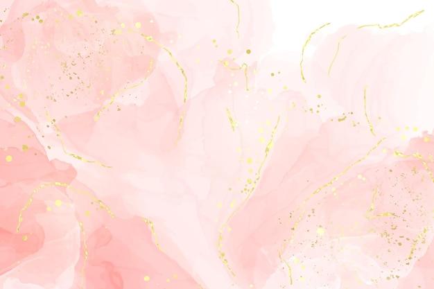Streszczenie różany rumieniec płynny akwarela tło ze złotymi liniami, kropkami i plamami