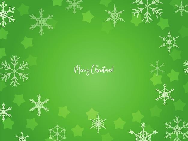 Streszczenie rozmazane zielone tło boże narodzenie z płatkami śniegu i gwiazdami