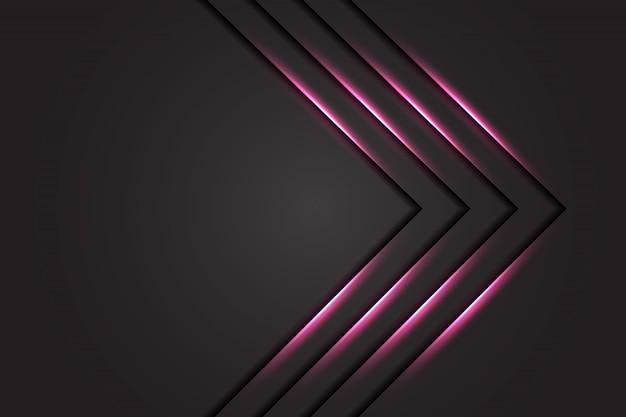 Streszczenie różowa jasna strzałka na ciemnoszarym designie nowoczesny luksusowy futurystyczny