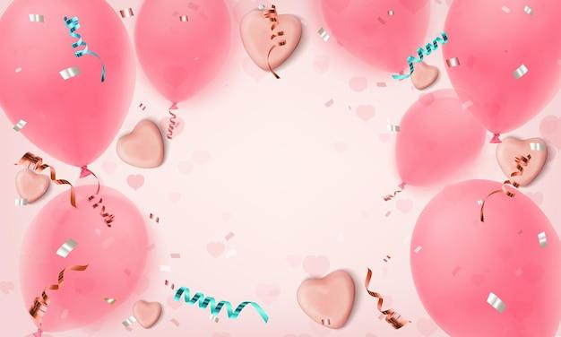 Streszczenie różowe tło z realistycznymi serduszkami cukierków, balonami, konfetti i wstążkami.