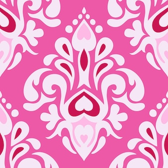 Streszczenie różowy bez szwu vintage luksusowy ozdobny wektor wzór dla tkaniny