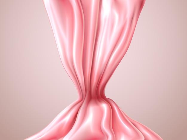 Streszczenie różowy jedwab lub satyna. romantyczny jedwabisty streszczenie tło. luksusowa tkanina jedwabna z zakładkami. elegancki element projektu.