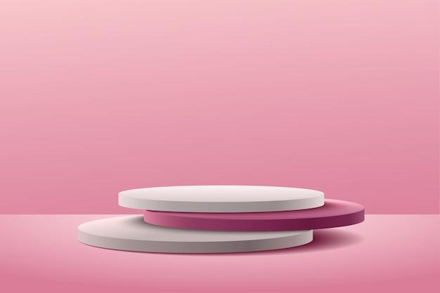 Streszczenie różowy okrągły wyświetlacz do prezentacji produktu