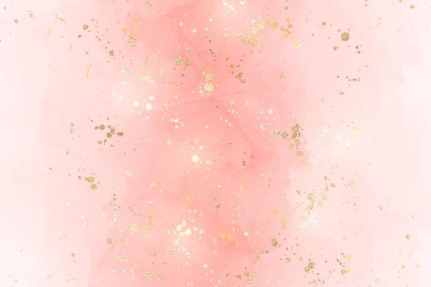 Streszczenie różowy płyn akwarela tło ze złotym konfetti. pastelowy rumieniec marmurkowy efekt rysowania tuszem alkoholowym i złoty pył foliowy. wektor ilustracja szablon projektu na zaproszenie na ślub.