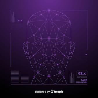 Streszczenie rozpoznawania twarzy futurystyczna technologia