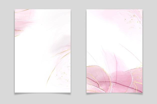 Streszczenie rumieniec różowy płyn akwarela tło z plamami złoty brokat i linie. efekt rysowania tuszem alkoholowym z różowego marmuru ze złotą folią. szablon ilustracji wektorowych na zaproszenie na ślub