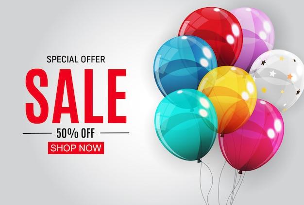 Streszczenie s sprzedaż szablon transparent z balonami. ilustracja