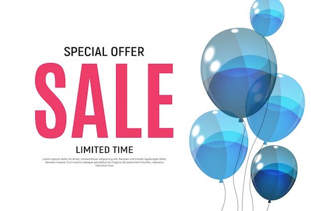 Streszczenie s szablon transparent sprzedaż z balonami. ilustracja