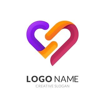 Streszczenie serce projektowanie logo kolorowe, szablon ikona miłości