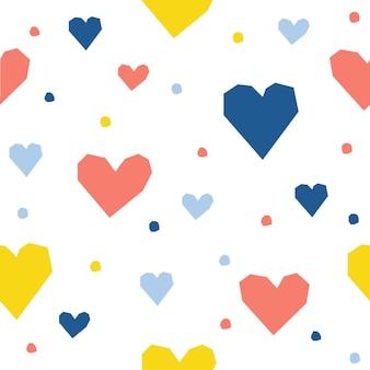 Streszczenie serce ręcznie wzór tła. dziecinne ręcznie robione rzemiosło do karty projektowej, menu kawiarni, tapety, albumu na prezenty, albumu z wycinkami, papieru do pakowania świątecznego, pieluszki dla niemowląt, nadruku na torbie, koszulki itp.