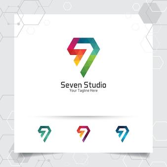 Streszczenie siedem studio logo