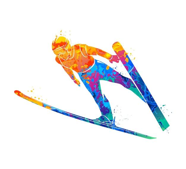 Streszczenie skoki narciarz z plusk akwareli. ilustracja farb.