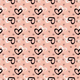 Streszczenie słodkie serce wzór na różowym tle