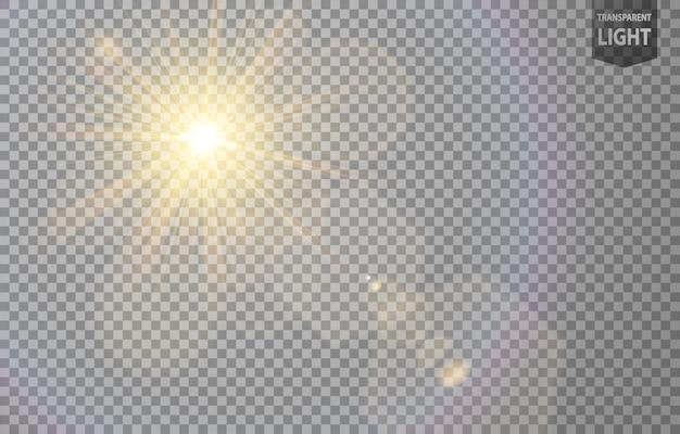 Streszczenie słońce świeci z flary obiektywu