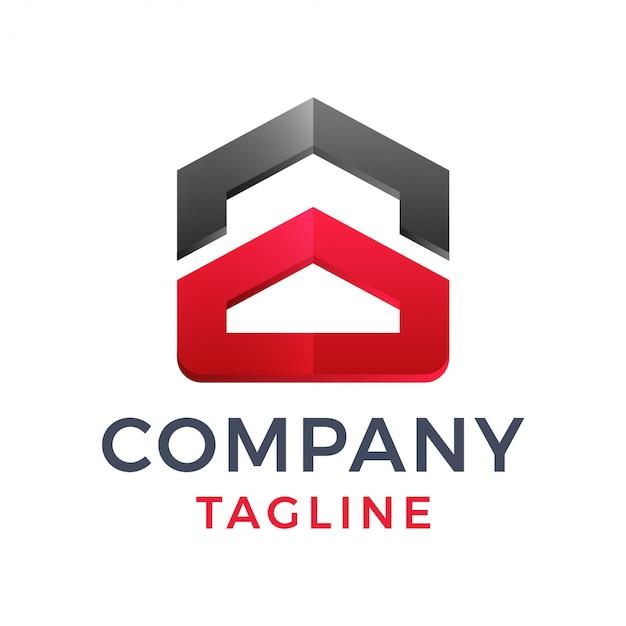 Streszczenie śmiały nowoczesny dom geometryczny 3d nieruchomości budowa logo projektowanie logo