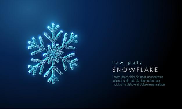 Streszczenie śnieżynka. konstrukcja w stylu low poly. streszczenie tło geometryczne
