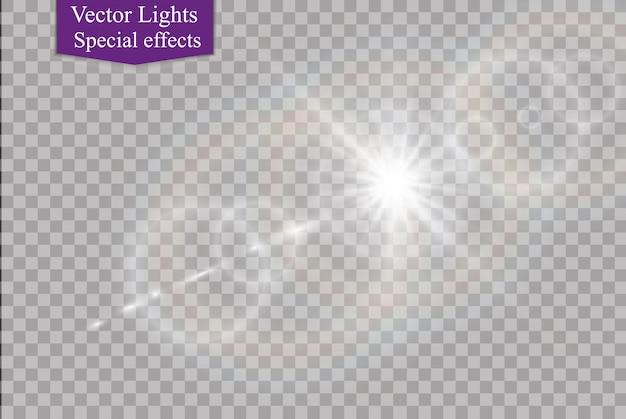 Streszczenie soczewki złota przednia rozbłysk słoneczny przezroczysty specjalny efekt świetlny