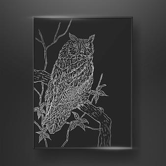 Streszczenie sowa linia sztuki ręcznie rysowane na ciemnym tle