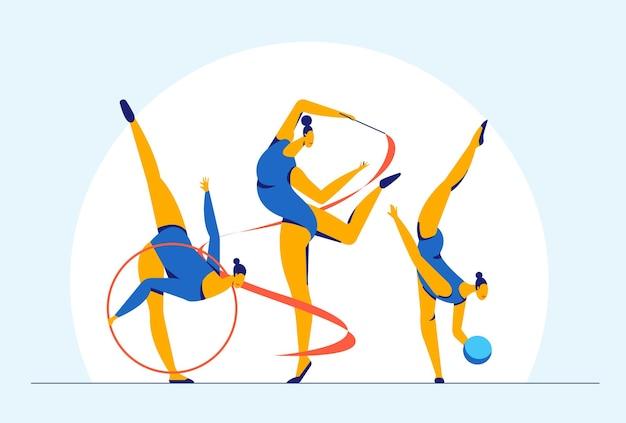 Streszczenie sportowiec dziewczyna gimnastyczka wykonująca elementy gimnastyki rytmicznej z piłką