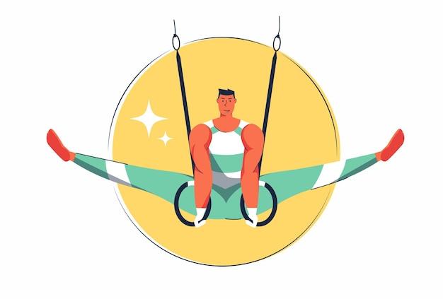 Streszczenie sportowiec mężczyzna gimnastyczka, wykonujący z wiszącym obręczem w pozie, ilustracja