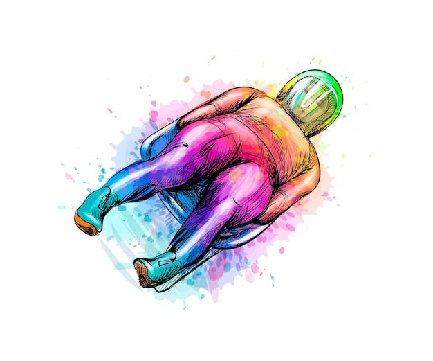 Streszczenie sporty zimowe saneczkarstwo z pluskiem akwareli. ilustracja farb.