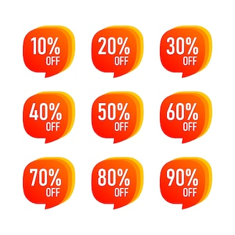 Streszczenie sprzedaż 10-90 procent zniżki etykieta tag na białym tle. wektor eps10