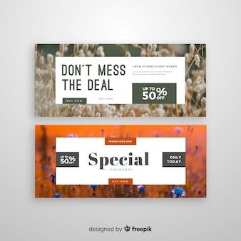 Streszczenie sprzedaż banery szablon ze zdjęciem