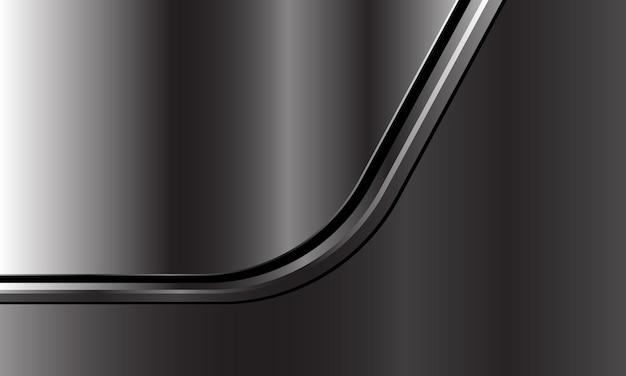 Streszczenie srebrna czarna linia krzywa nakłada się na ciemnoszarym metalicznym nowoczesnym, luksusowym futurystycznym tle