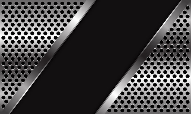 Streszczenie srebrne koło siatki wzór trójkąta na czarnej pustej przestrzeni projekt nowoczesny luksus futurystyczny tło.
