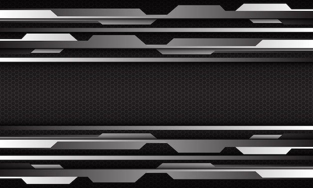Streszczenie srebrny cyber geometryczny na sześciokątnej siatce projekt nowoczesne futurystyczne tło