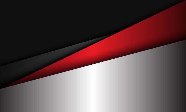 Streszczenie srebrny czerwony szary metalik geometryczne nakładają się nowoczesne futurystyczne tło ilustracja.