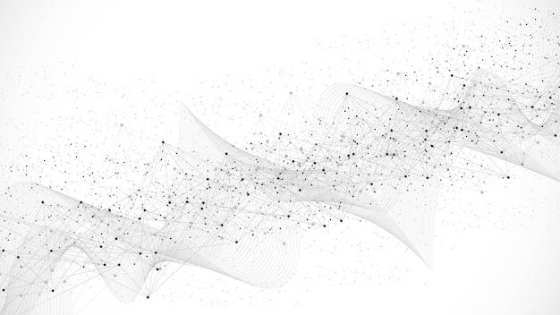 Streszczenie struktura połączenia sieci cyfrowej na niebieskim tle. koncepcja technologii sztucznej inteligencji i inżynierii. globalna sieć big data, splot linii, minimalna macierz. ilustracja wektorowa.
